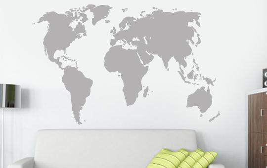 Wandkings Wandtattoo Weltkarte Worldmap Urlaub Reisen Wohnzimmer