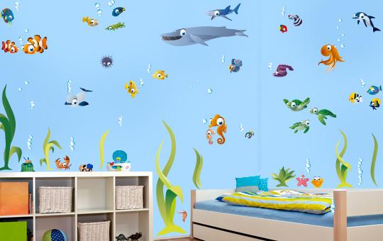 wandtattoo gro e bunte unterwasserwelt fische clownfisch wal seepferdchen delfin ebay. Black Bedroom Furniture Sets. Home Design Ideas