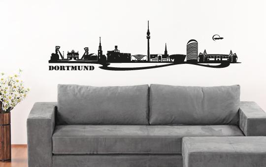 wandtattoo skyline dortmund bvb westfalenstadion u ruhrgebiet zeche 80x21 cm ebay. Black Bedroom Furniture Sets. Home Design Ideas