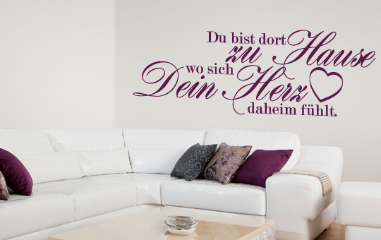 wandtattoo spruch du bist dort zu hause wo sich dein herz daheim f hlt 60x22 cm ebay. Black Bedroom Furniture Sets. Home Design Ideas