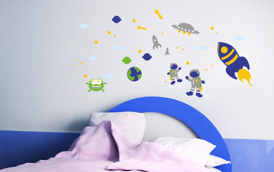 Wandsticker wandtattoo weltraum 2xa4 boegen kinderzimmer for Weltraum deko kinderzimmer