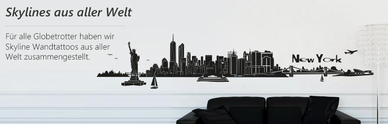 Skyline wandtattoos bekannter st dte der ganzen welt von - Wandtattoo welt ...