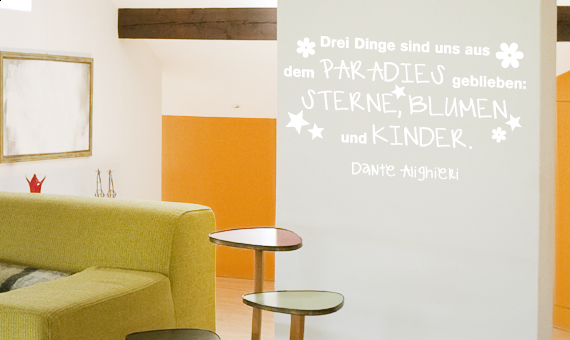 wandtattoo zitat drei dinge sind paradies kinder wandsticker wanddeko ebay. Black Bedroom Furniture Sets. Home Design Ideas