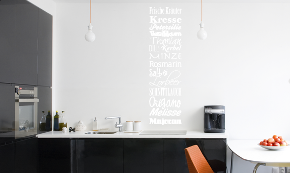 wandtattoo banner frische kr uter k che gew rze wandsticker wandaufkleber ebay. Black Bedroom Furniture Sets. Home Design Ideas