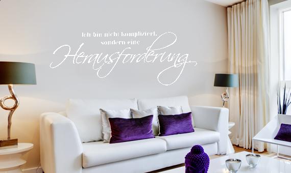 wandtattoo spruch ich bin nicht kompliziert wandsticker wandaufkleber ebay. Black Bedroom Furniture Sets. Home Design Ideas