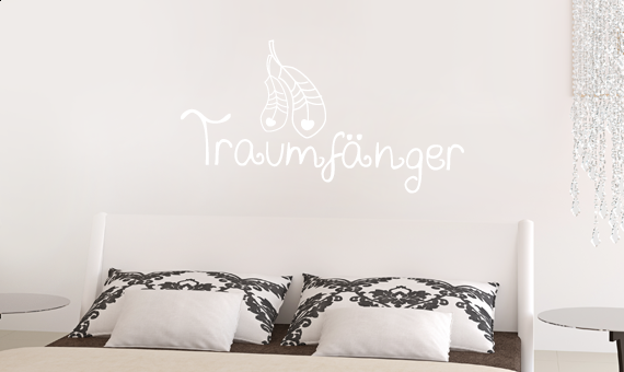 wandtattoo spruch traumf nger feder wandsticker. Black Bedroom Furniture Sets. Home Design Ideas