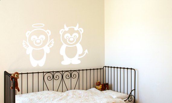 wandkings wandtattoo panda engel und teufel gr e farbe w hlbar ebay. Black Bedroom Furniture Sets. Home Design Ideas
