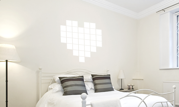wandtattoo pixelherz herz liebe wandsticker wandaufkleber wanddekoration ebay. Black Bedroom Furniture Sets. Home Design Ideas