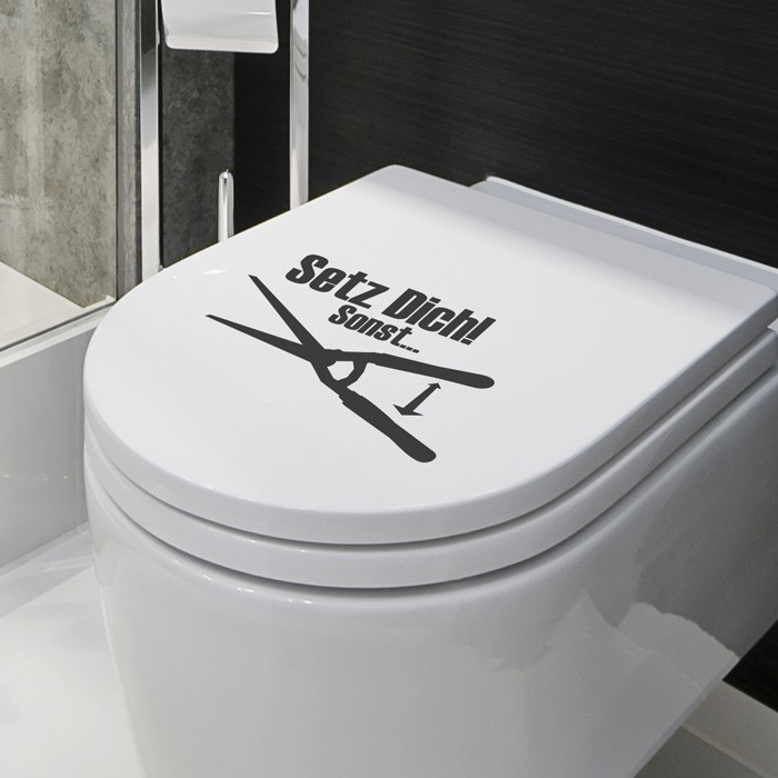 wc aufkleber setz dich sonst schere. Black Bedroom Furniture Sets. Home Design Ideas
