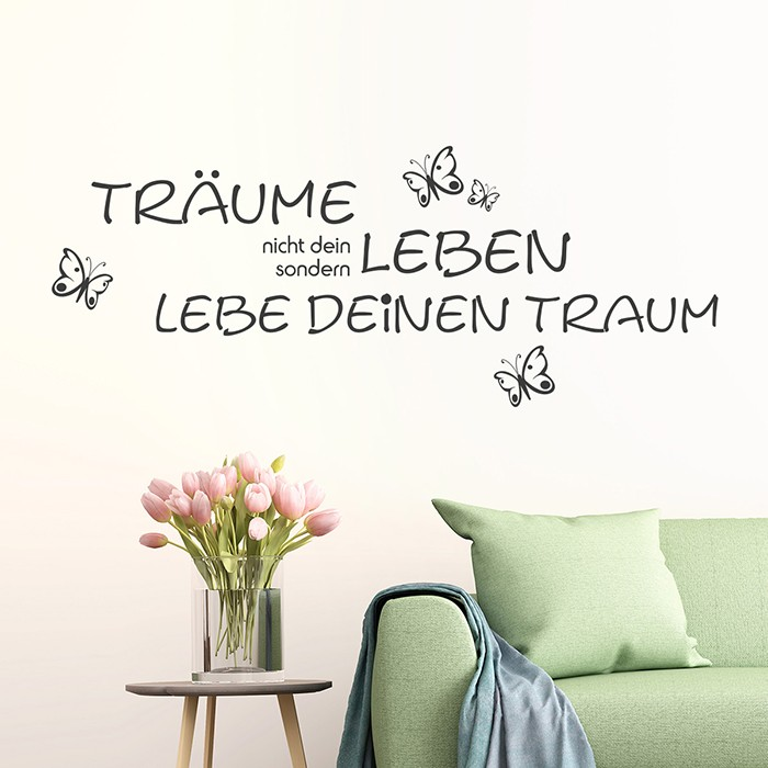 wandtattoo spruch tr ume nicht dein leben. Black Bedroom Furniture Sets. Home Design Ideas