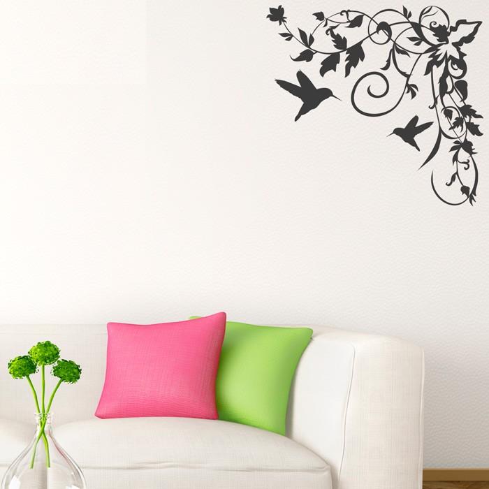 Wandtattoo kolibri blumenranke for Wandtattoo blumenranke