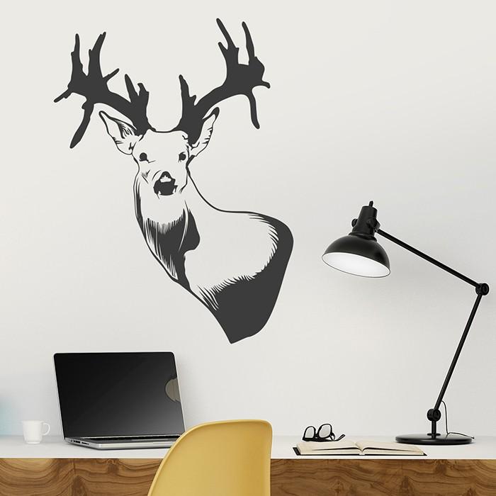 wandtattoo hirschkopf. Black Bedroom Furniture Sets. Home Design Ideas