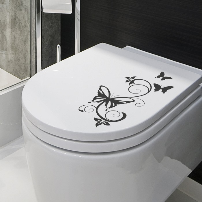 wandtattoo schmetterling ranke wc deckel design aufkleber. Black Bedroom Furniture Sets. Home Design Ideas