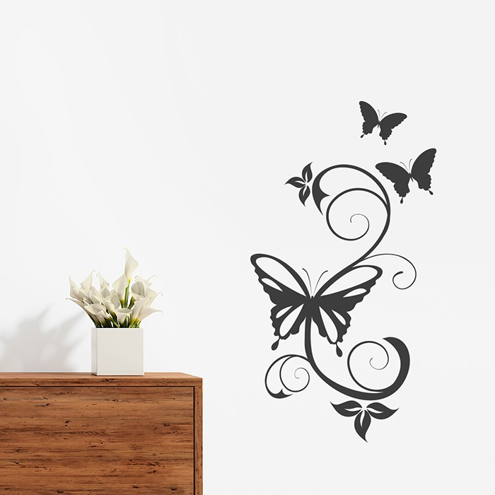 wandtattoo schmetterling ranke. Black Bedroom Furniture Sets. Home Design Ideas