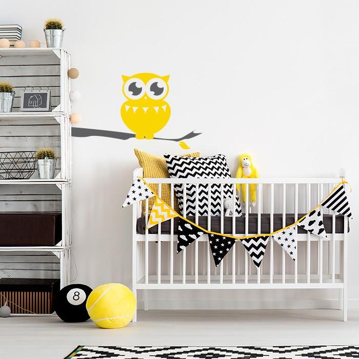 wandtattoo eule auf ast. Black Bedroom Furniture Sets. Home Design Ideas