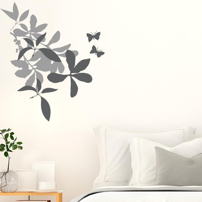 Blumen Mit Schmetterlingen Wandtattoo