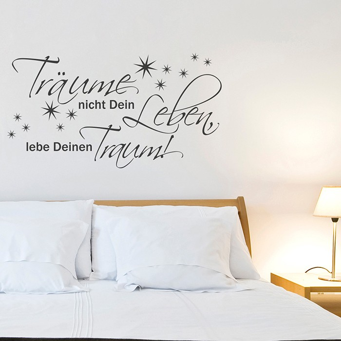 wandtattoo spruch tr ume nicht dein leben lebe deinen. Black Bedroom Furniture Sets. Home Design Ideas