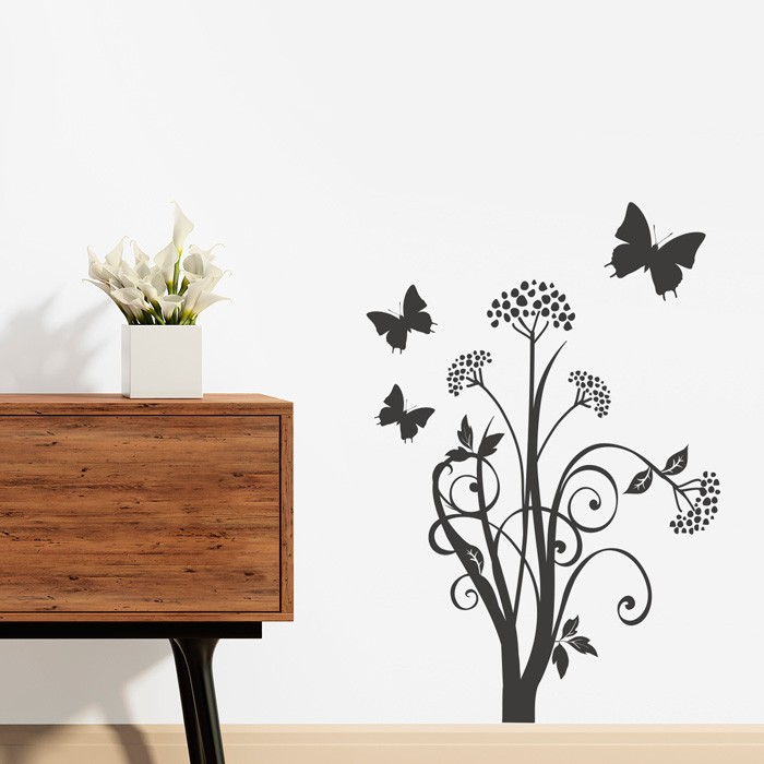 wandtattoo blumenranke mit schmetterlingen. Black Bedroom Furniture Sets. Home Design Ideas