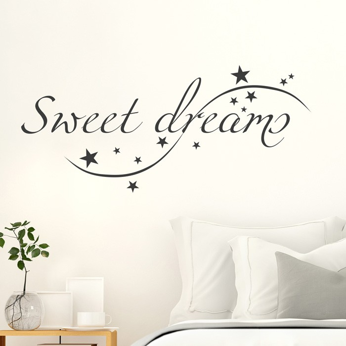 wandtattoo spruch sweet dreams. Black Bedroom Furniture Sets. Home Design Ideas