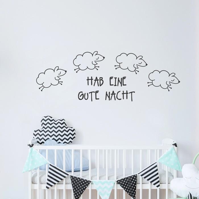 Wandtattoo Spruch - Hab eine gute Nacht (Schäfchen)