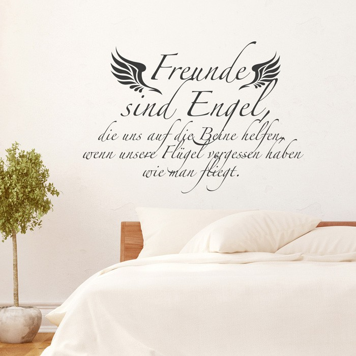wandtattoo spruch freunde sind engel. Black Bedroom Furniture Sets. Home Design Ideas