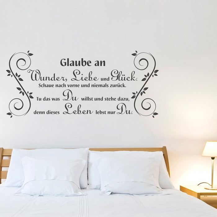 wandtattoo spruch glaube an wunder. Black Bedroom Furniture Sets. Home Design Ideas