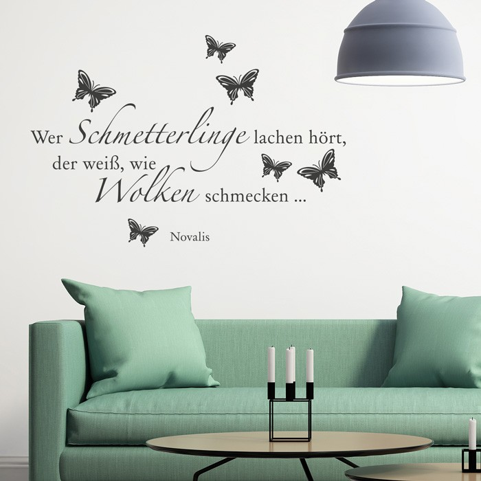 wandtattoo zitat wer schmetterlinge lachen h rt. Black Bedroom Furniture Sets. Home Design Ideas