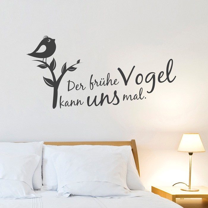 wandtattoo spruch der fr he vogel kann uns mal. Black Bedroom Furniture Sets. Home Design Ideas