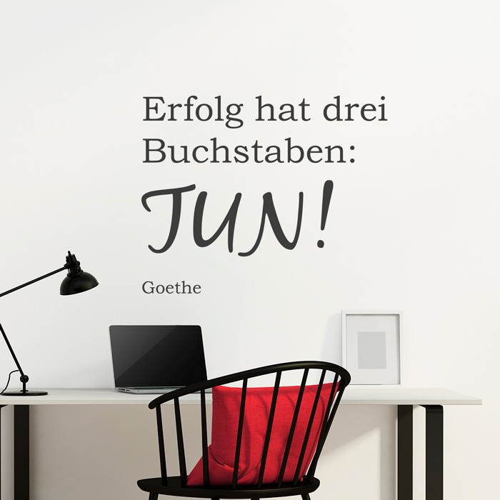 wandtattoo zitat erfolg hat drei buchstaben tun. Black Bedroom Furniture Sets. Home Design Ideas
