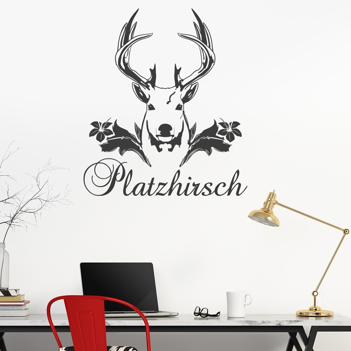 wandtattoo spruch platzhirsch. Black Bedroom Furniture Sets. Home Design Ideas