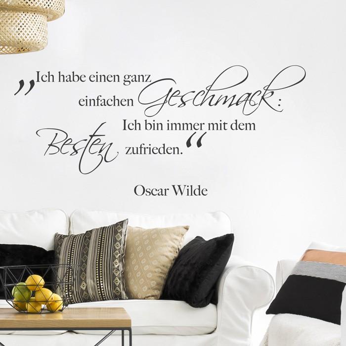 wandtattoo zitat ich habe einen ganz einfachen geschmack. Black Bedroom Furniture Sets. Home Design Ideas