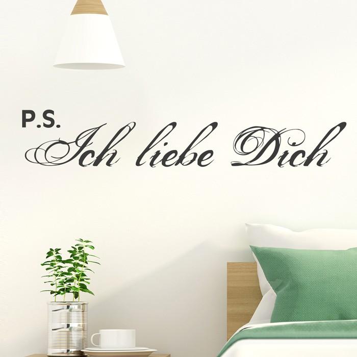 wandtattoo spruch p s ich liebe dich. Black Bedroom Furniture Sets. Home Design Ideas