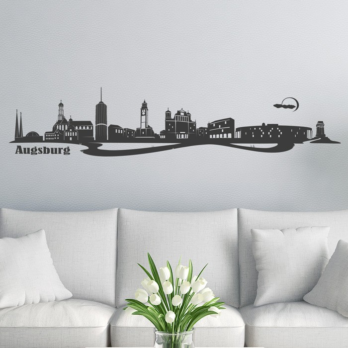 wandtattoo skyline augsburg. Black Bedroom Furniture Sets. Home Design Ideas