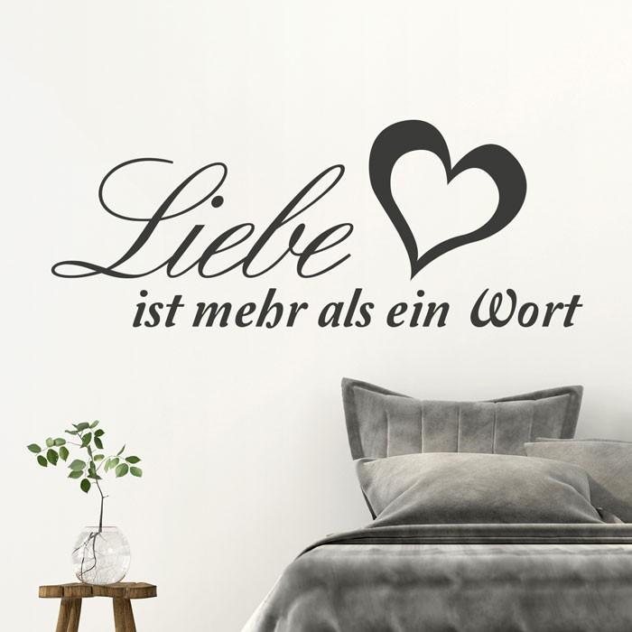 wandtattoo spruch liebe ist mehr als ein wort. Black Bedroom Furniture Sets. Home Design Ideas