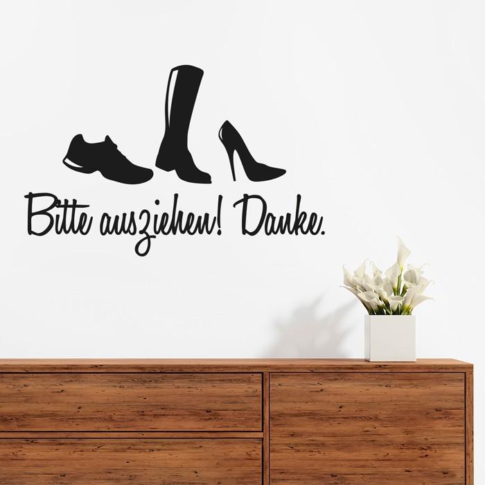 wandtattoo spruch schuhe bitte ausziehen. Black Bedroom Furniture Sets. Home Design Ideas