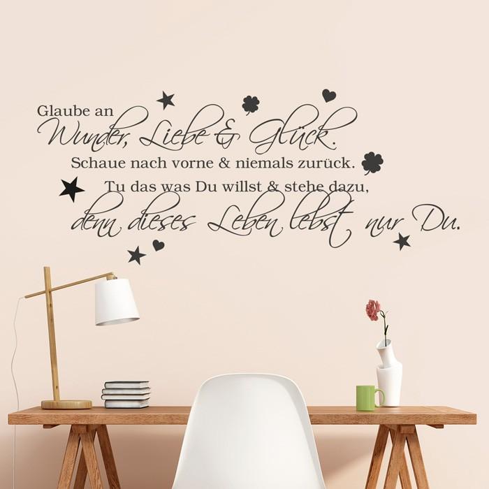 Wandtattoo Spruch Glaube An Wunder Liebe Und Gluck 2