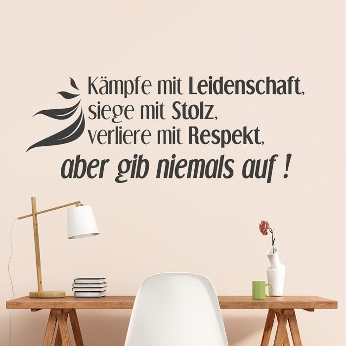 Wandtattoo Spruch Kampfe Mit Leidenschaft Siege Mit Stolz