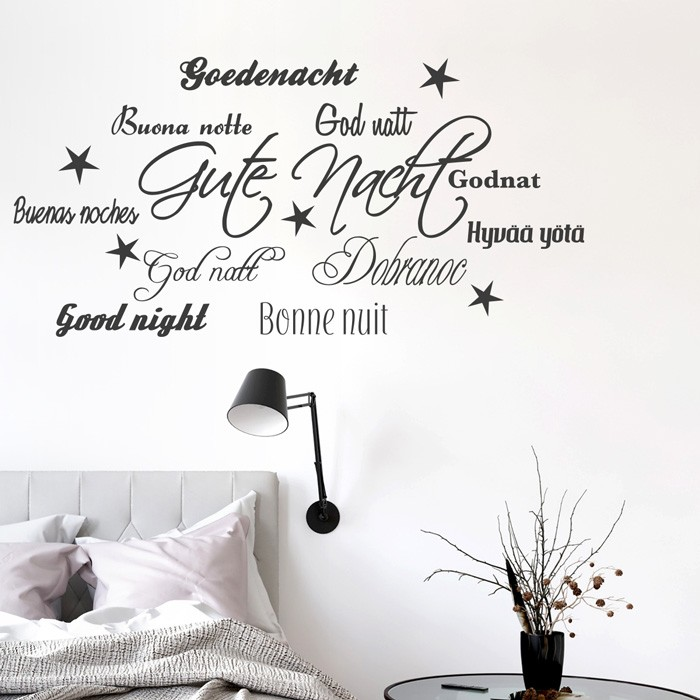 wandtattoo spruch gute nacht sprachen. Black Bedroom Furniture Sets. Home Design Ideas