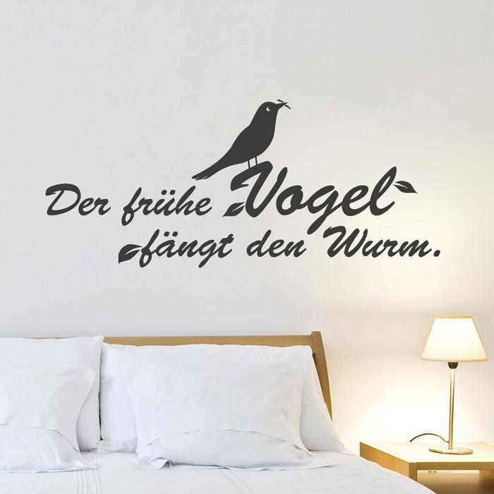 Wandtattoo Spruch Der Fruhe Vogel Fangt Den Wurm