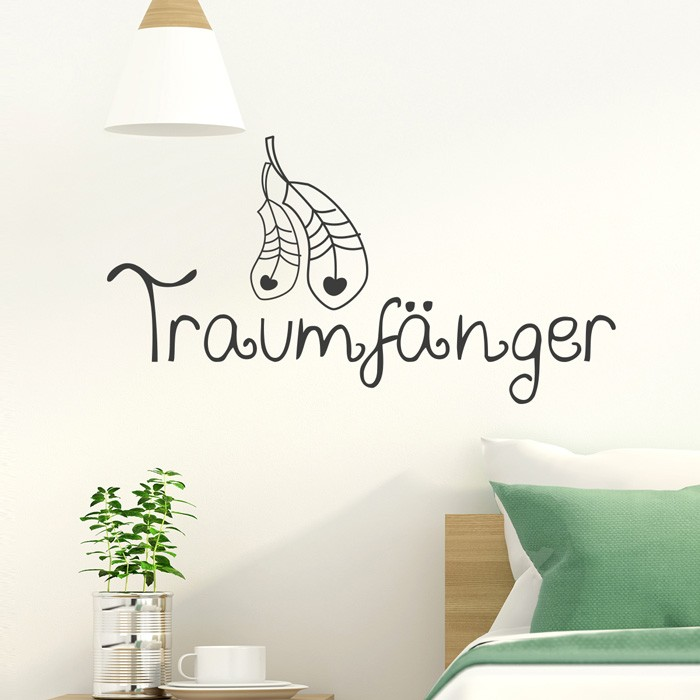 wandtattoo spruch traumf nger. Black Bedroom Furniture Sets. Home Design Ideas
