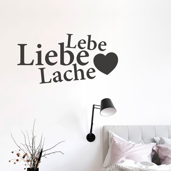 wandtattoo spruch lebe liebe lache. Black Bedroom Furniture Sets. Home Design Ideas