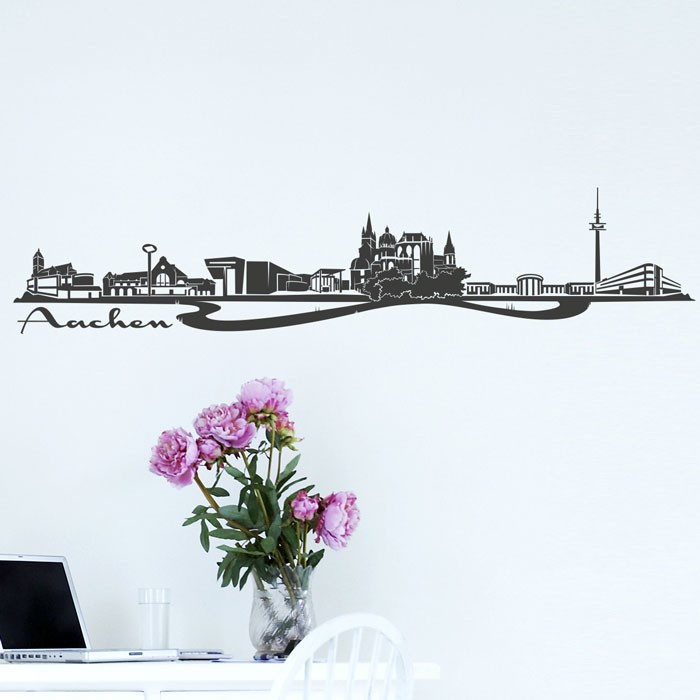 wandtattoo skyline aachen. Black Bedroom Furniture Sets. Home Design Ideas