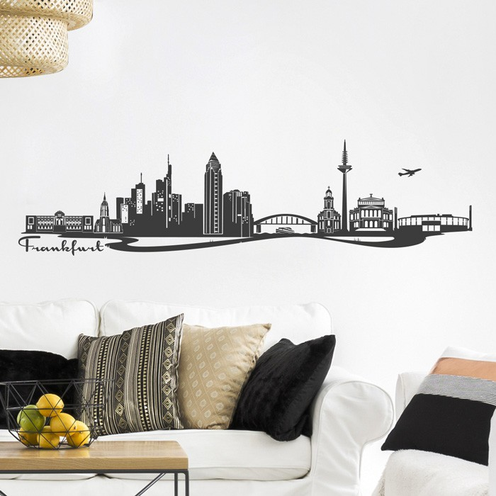 wandtattoo skyline frankfurt. Black Bedroom Furniture Sets. Home Design Ideas