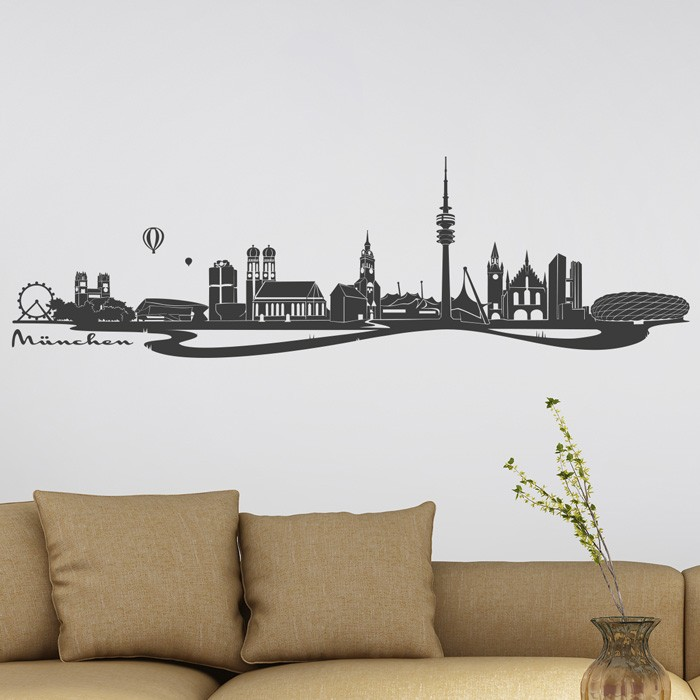 wandtattoo m nchen skyline mit fluss. Black Bedroom Furniture Sets. Home Design Ideas