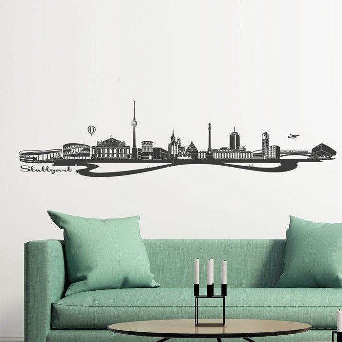 wandtattoo skyline stuttgart. Black Bedroom Furniture Sets. Home Design Ideas