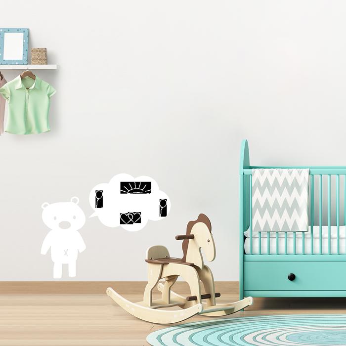 tafelfolie teddyb r mit sprechblase. Black Bedroom Furniture Sets. Home Design Ideas