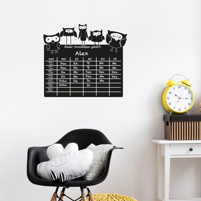 tafelfolie stundenplan eulen. Black Bedroom Furniture Sets. Home Design Ideas