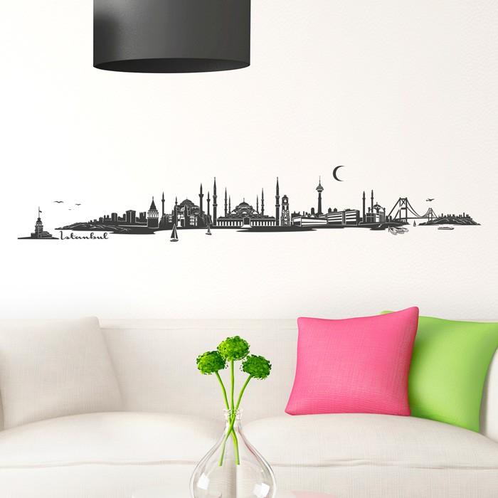 wandtattoo skyline istabul. Black Bedroom Furniture Sets. Home Design Ideas