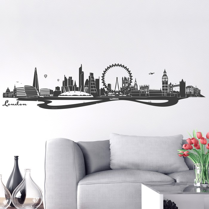 wandtattoo skyline london. Black Bedroom Furniture Sets. Home Design Ideas