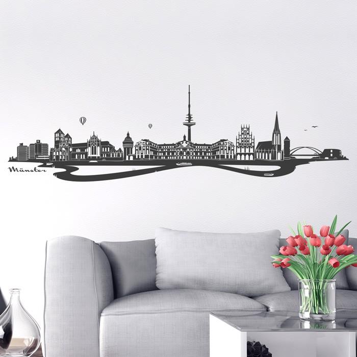 wandtattoo skyline m nster. Black Bedroom Furniture Sets. Home Design Ideas